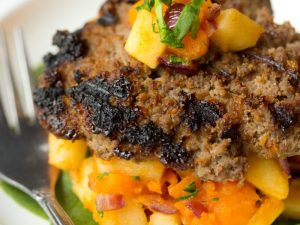 Honey Mustard Burger with Sweet Potato and Apple Hash